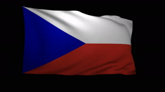 Stock Video Footage of 3D Rendering of the flag of the Czech Republic waving in the wind.