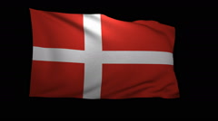 Stock Video Footage of 3D Rendering of the flag of Denmark waving in the wind.