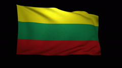 Stock Video Footage of 3D Rendering of the flag of Lithuania waving in the wind.