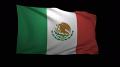 Stock Video Footage of 3D Rendering of the flag of Mexico waving in the wind.