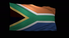 Stock Video Footage of 3D Rendering of the flag of South Africa waving in the wind.
