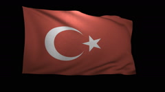 Stock Video Footage of 3D Rendering of the flag of Turkey waving in the wind.