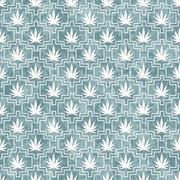 Blue and White Marijuana Tile Pattern Repeat Background - stock illustration