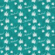 Teal and White Medical Marijuana Tile Pattern Repeat Background Stock Illustration