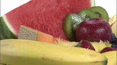 Rotating plate of assorted fruit. Stock Footage