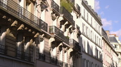 French architecture seen from the street. Stock Footage