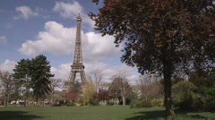 The base of the Eiffel Tower from a park. Stock Footage