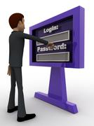 3d man entering login and password concept - stock illustration