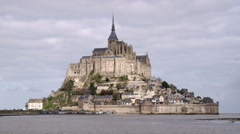 Mont Saint Michel castle and monastery. - stock footage