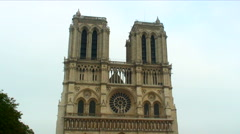 Royalty Free Stock Footage of Front facade of the Notre Dame Cathedral in Paris, Stock Footage