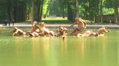 Royalty Free Stock Footage of Pond with statues in Versailles, France. Stock Footage