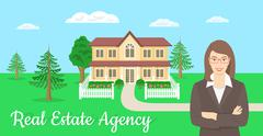 Real Estate Agent Offers a House - stock illustration