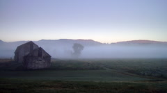 TIme-lapse shot of swan valley barn and fog. Stock Footage