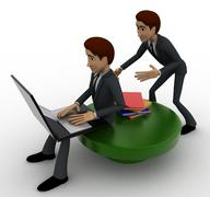 3d one man reading e book on laptop and another man stealing book from behind Stock Illustration