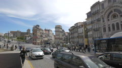 Crossing the street in Porto Stock Footage