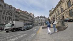 Walking in Almeida Garrett Square in Porto Stock Footage