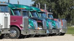 Line of Peterbilt trucks at used truck dealership. Stock Footage