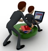 3d one man reading e book on laptop and another man stealing book from behind - stock illustration