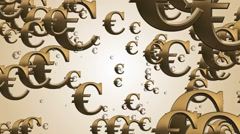 Flying Euro money signs Stock Footage