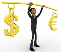 3d man lifting dollar ad euro up in air concept - stock illustration