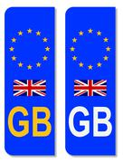 EU Number Plate Identifier For Great Britain - stock illustration