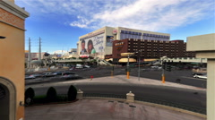 Time-lapse shot of a busy intersection near The Flamingo in Las Vegas Stock Footage