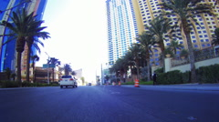 Sped-up video of a ride around Las Vegas during the day with lens flare Stock Footage