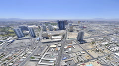 Timelapse, panning view of Las Vegas from the top of the Stratosphere Hotel to Stock Footage