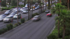 Static view of sped up traffic on Las Vegas Boulevard. Stock Footage