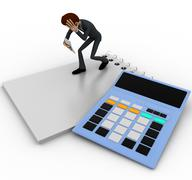 3d man in stress while reading bill accounts concept Stock Illustration