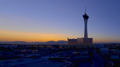 Sped-up panning shot of the stratosphere tower in las vegas. Stock Footage