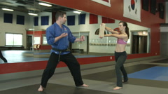 Karate instructor punches through board heald by student Stock Footage