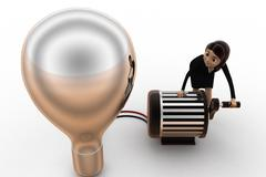 3d woman lighting up bulb using generator concept - stock illustration