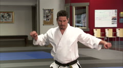 Close up of a man performing Tae Kwon Do. Stock Footage