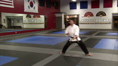 Martial arts instructor using sais in a karate studio. Stock Footage