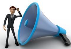 3d man listening to big blue speaker concept - stock illustration