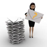 3d woman with many mails in inbox and one mail with question mark in hand con Stock Illustration