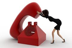 3d woman with big red telephone concept - stock illustration