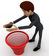 3d man catching bug and throughing it into dustbin concept - stock illustration