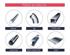 Metal profile and tubes Stock Illustration