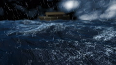 Noah's ark maneuvers through a violent sea. Stock Footage