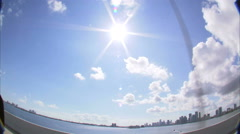 Wide angle lens of Miami skyline from a bridge. Stock Footage