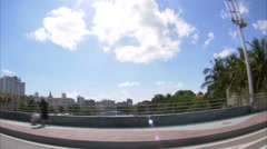 Driving through an area of Miami with a wide angle lens. - stock footage