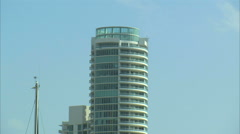 Zoom from a hotel to harbored boats in Miami. Stock Footage