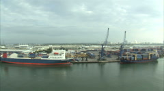 Aerial shot of a shipping yard in Miami. Stock Footage