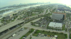 Aerial shot of a business district in Miami. Stock Footage