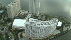 Flying over hotels in Miami. Stock Footage