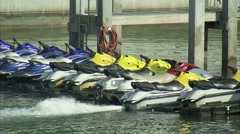 Row of parked wave runners. Stock Footage