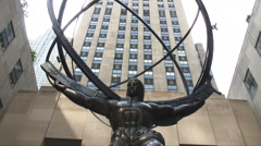 Atlas statue at Rockefeller Center in New York City. Stock Footage