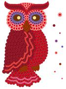 Stock Illustration of Colour owl made from many buttons